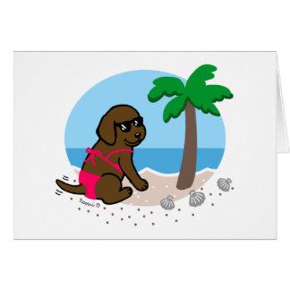 Tarjeta de vacaciones de verano del chica de