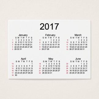 Tarjeta De Visita 52 calendario del blanco de la semana 2017 por las