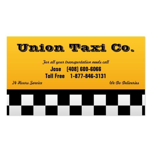 Tarjeta de visita a cuadros del taxi