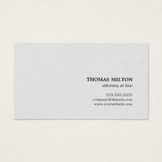 Tarjeta De Visita Abogado blanco de la textura elegante minimalista