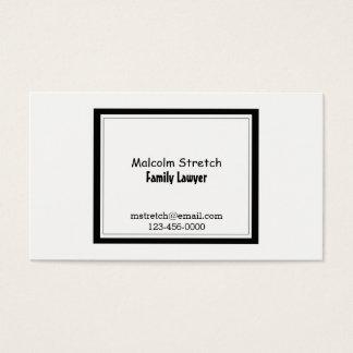 Tarjeta De Visita Abogado blanco y negro minimalista de la familia