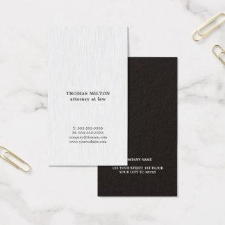 Tarjeta De Visita Abogado negro blanco de la textura elegante