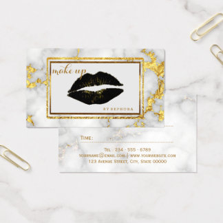 Tarjeta De Visita Acento del oro de los labios del negro del artista