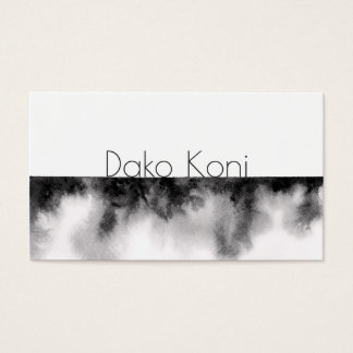 Tarjeta De Visita Acuarela blanco y negro minimalista