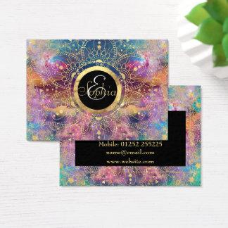 Tarjeta De Visita Acuarela del oro y mandala de la nebulosa