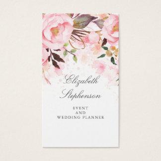 Tarjeta De Visita Acuarela floral rosada elegante y moderna