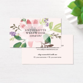 Tarjeta De Visita Acuarela floral rosada moderna
