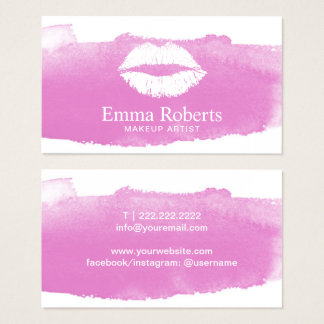 Tarjeta De Visita Acuarela rosada elegante de los labios de la