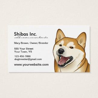 Tarjeta de visita adaptable roja feliz de Shiba