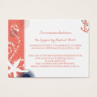 Tarjeta De Visita Alojamientos náuticos del boda del coral y de la