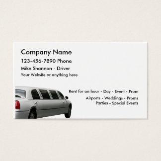 Tarjeta De Visita Alquiler del Limo y servicio del conductor