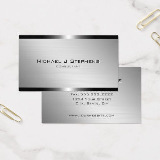 Tarjeta De Visita Aluminio cepillado moderno con las bandas bronce