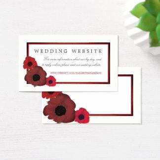Tarjeta De Visita Amapolas y Web site rojos del boda de la arpillera