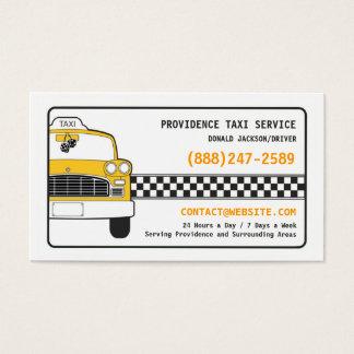 Tarjeta de visita amarilla del taxi del taxi