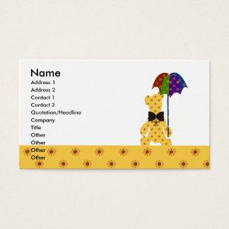 Tarjeta De Visita Amarillo colorido animal lindo estupendo del oso