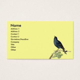 Tarjeta De Visita Amarillo elegante del pájaro del negro del vintage