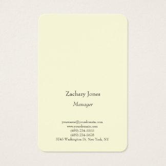 Tarjeta De Visita Amarillo minimalista simple llano de moda legible