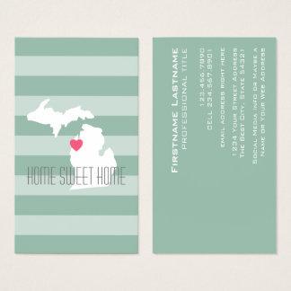 Tarjeta De Visita Amor del estado de origen del mapa de Michigan con