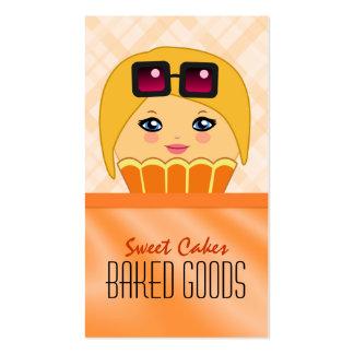 Tarjeta de visita anaranjada linda de la panadería tarjetas de visita