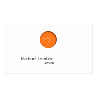 Tarjeta de visita anaranjada mínima del monograma