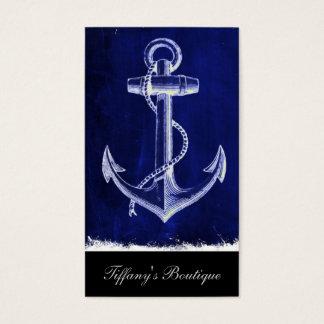 Tarjeta De Visita ancla náutica elegante costera de los azules