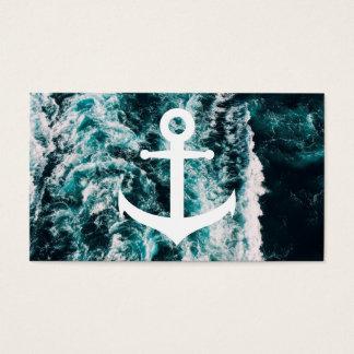 Tarjeta De Visita Ancla náutica en fondo de la foto del océano