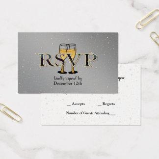 Tarjeta De Visita Año Nuevo RSVP del oro de Champán de las estrellas