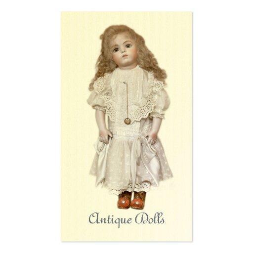 Tarjeta de visita antigua de la muñeca