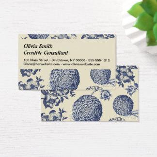 Tarjeta De Visita Antigüedad azul de la flor de la impresión de las