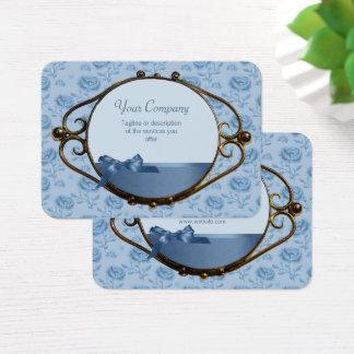 Tarjeta De Visita Antigüedad elegante azul soñadora floral romántica