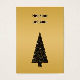 Tarjeta De Visita Árbol de navidad elegante. Negro y oro