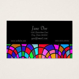 Tarjeta De Visita Arte abstracto del mosaico multicolor del vitral