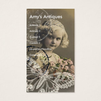 Tarjeta De Visita Arte de Digitaces de la niña del vintage