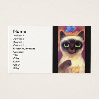 Tarjeta De Visita Arte felino de la mariposa del gato siamés - multi