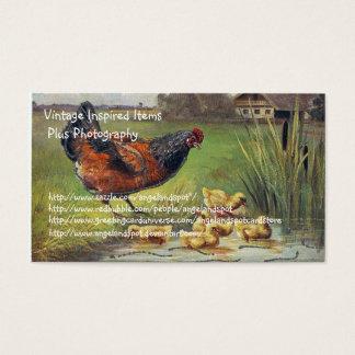 Tarjeta De Visita Artículos y fotografía del pollo del vintage