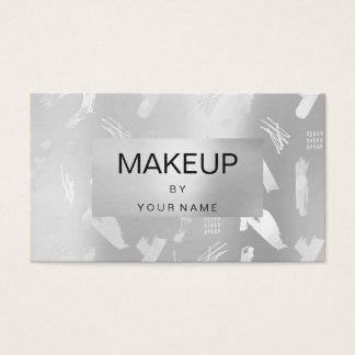 Tarjeta De Visita Artista de maquillaje abstracto metálico de los