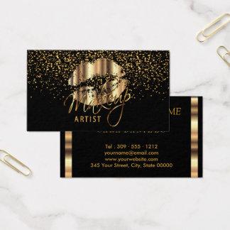 Tarjeta De Visita Artista de maquillaje con confeti del oro y labios
