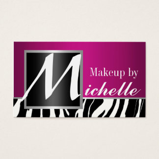 Tarjeta De Visita Artista de maquillaje del monograma de la cebra
