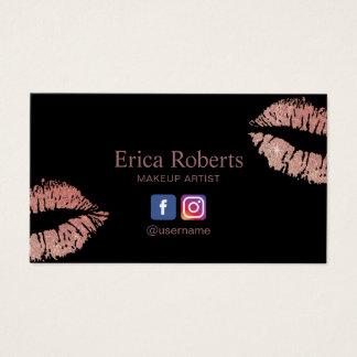 Tarjeta De Visita Artista de maquillaje moderno de los labios color