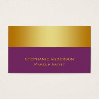 Tarjeta De Visita Artista de maquillaje rayado del oro púrpura