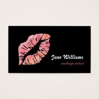 Tarjeta De Visita Artista de maquillaje rosado de los labios