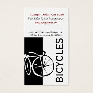 Tarjeta De Visita Artístico blanco de la bici del negro clásico del