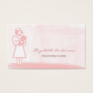 Tarjeta De Visita Atención sanitaria rosada femenina de la acuarela