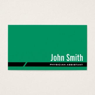 Tarjeta de visita auxiliar del médico verde llano