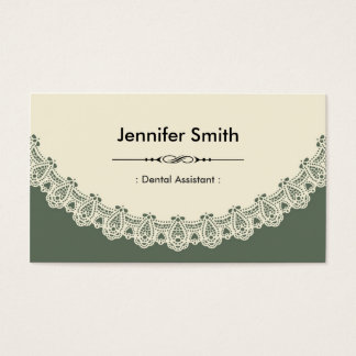 Tarjeta De Visita Ayudante de dentista - cordón elegante retro