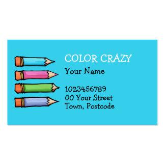 Tarjeta de visita azul coloreada de los lápices