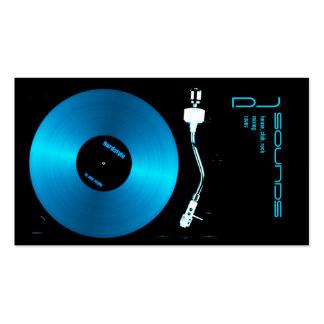 tarjeta de visita azul de DJ de la placa giratoria