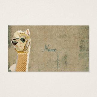 Tarjeta de visita azul de la alpaca del vintage