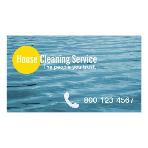 Tarjeta de visita azul de la limpieza de la casa d
