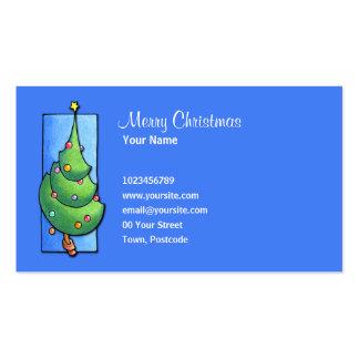 Tarjeta de visita azul del árbol de navidad